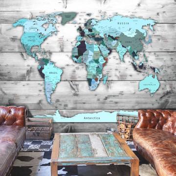 Fototapet - World Map: Blue Continents