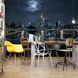 Frankfurt At Full Moon Photo Wallpaper Mural