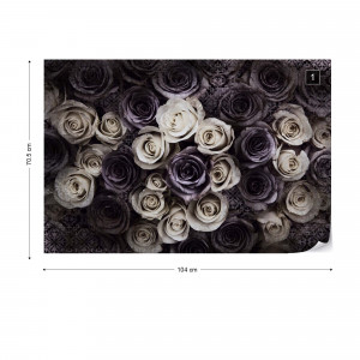 Gothic Roses Dark Purple Photo Wallpaper Wall Mural