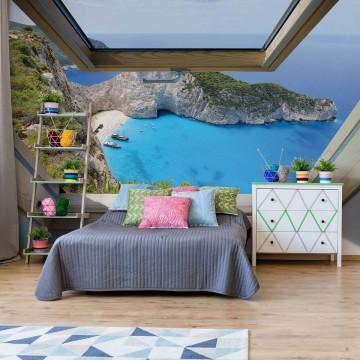 Greek Island Skylight Window View Photo Wallpaper Wall Mural