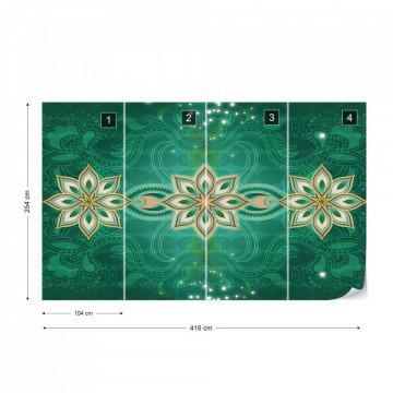 Green Gold Abstract Pattern Photo Wallpaper Wall Mural