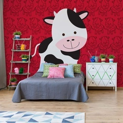 Happy Cartoon Cow Photo Wallpaper Wall Mural