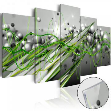 Imagine pe sticlă acrilică - Green Rhythm [Glass]