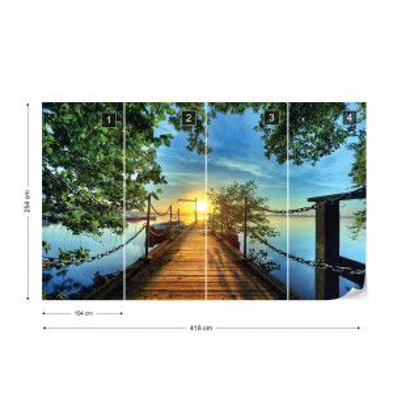 Lake Pier Sunset Photo Wallpaper Wall Mural