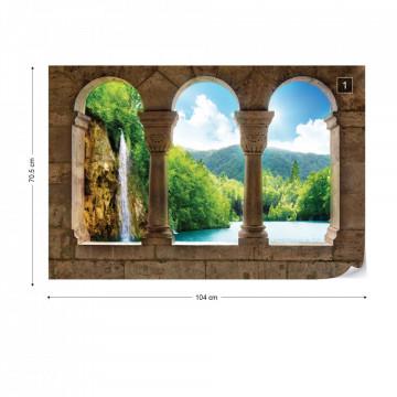 Lake Waterfall View Through Stone Arches Photo Wallpaper Wall Mural