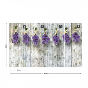 Lavender Bunches On Wood Plank Wall Vintage Style Photo Wallpaper Wall Mural