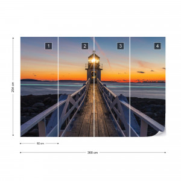 Lighthouse At Sunset Photo Wallpaper Wall Mural