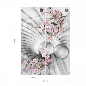 Modern 3D Flowers And Bubbles Tunnel View Photo Wallpaper Wall Mural