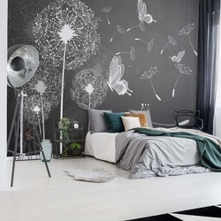 Modern Dandelions And Butterflies Grey And White Photo Wallpaper Wall Mural