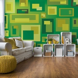 Modern Green Squares Pattern Photo Wallpaper Wall Mural