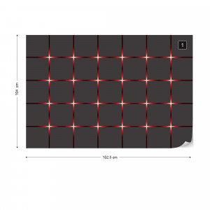 Modern Square Design Red Lights Photo Wallpaper Wall Mural