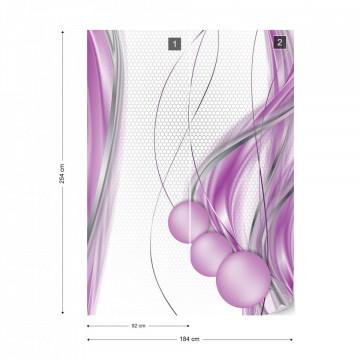Modern Waves Design Purple Photo Wallpaper Wall Mural