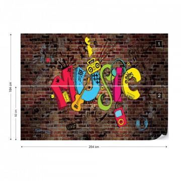 Music Graffiti Brick Wall Photo Wallpaper Wall Mural