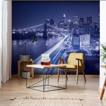 New York City Brooklyn Bridge Lights Photo Wallpaper Wall Mural