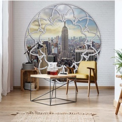 New York City Skyline Ornamental Window View Photo Wallpaper Wall Mural