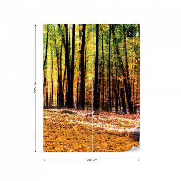 Orange Autumn Forest Photo Wallpaper Wall Mural