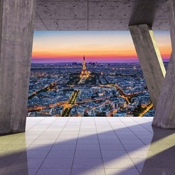 Paris 3D Modern View Concrete Photo Wallpaper Wall Mural