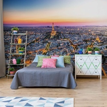Paris City Skyline At Night Photo Wallpaper Wall Mural