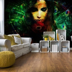 Peacock Feathers Woman Photo Wallpaper Wall Mural