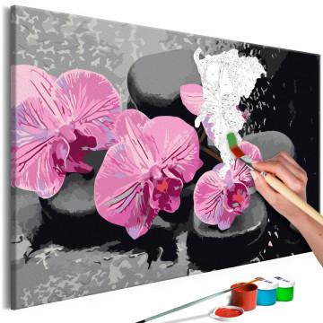 Pictatul pentru recreere - Orchid With Zen Stones (Black Background)