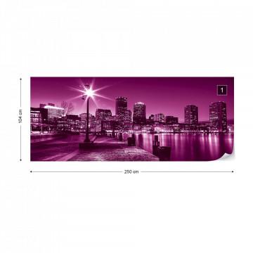 Pink City Skyline Boston Photo Wallpaper Wall Mural