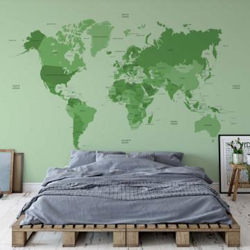 Political World Map Green