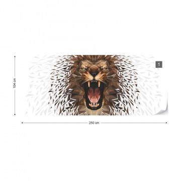 Polygon Lion Ligh Colours Photo Wallpaper Wall Mural