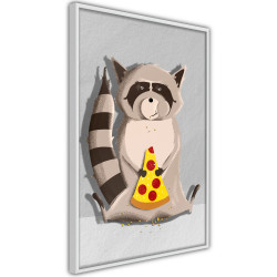Poster - Racoon Eating Pizza