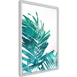 Poster - Teal Palm on White Background