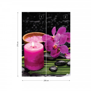Purple Orchids Spa Candle Photo Wallpaper Wall Mural
