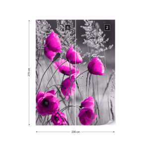 Purple Poppies Black And White Photo Wallpaper Wall Mural