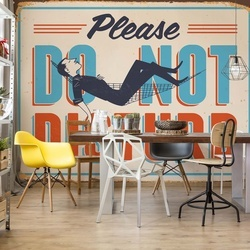 "Retro Sign ""Do Not Disturb"" Photo Wallpaper Wall Mural"
