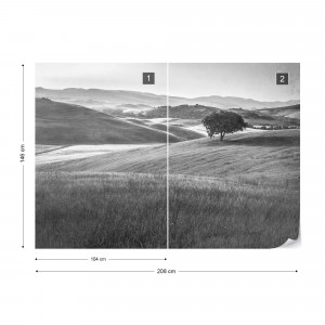 Rolling Hills Faded Vintage in Black & White