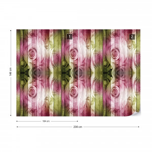 Roses On Wood Plank Wall Vintage Style Photo Wallpaper Wall Mural