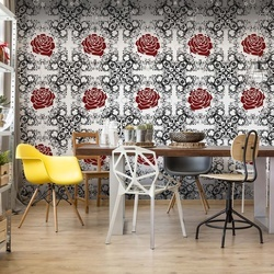 Roses Pattern Black White Red Photo Wallpaper Wall Mural