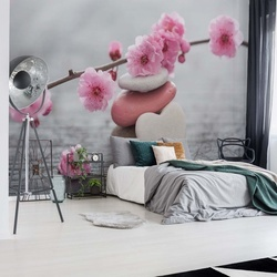 Spa Pebbles And Cherry Blossom Flowers Photo Wallpaper Wall Mural