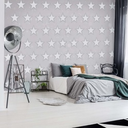 Stars Pattern Light Grey Photo Wallpaper Wall Mural