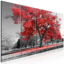 Tablou - Autumn in the Park (5 Parts) Narrow Red