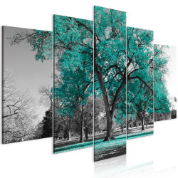Tablou - Autumn in the Park (5 Parts) Wide Turquoise