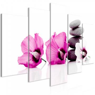 Tablou - Calm Mallow (5 Parts) Wide Pink