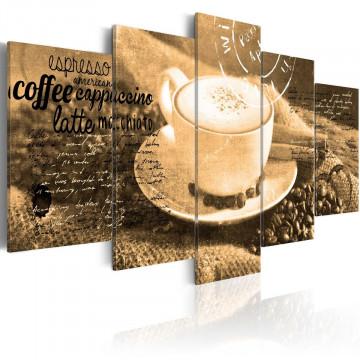 Tablou - Coffe, Espresso, Cappuccino, Latte machiato ... - sepia