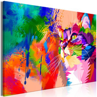 Tablou - Colourful Cat (1 Part) Wide