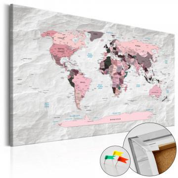 Tablou din plută - Pink Continents [Cork Map]