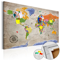 Tablou din plută - World Map: Retro Style [Cork Map]