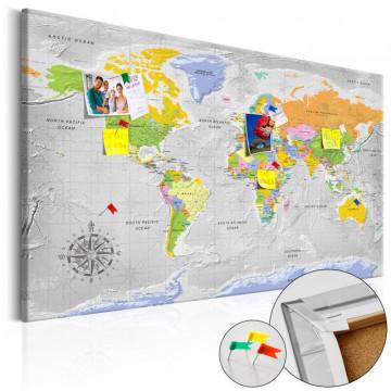 Tablou din plută - World Map: Wind Rose [Cork Map]