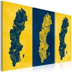 Tablou - Painted map of Sweden - triptych