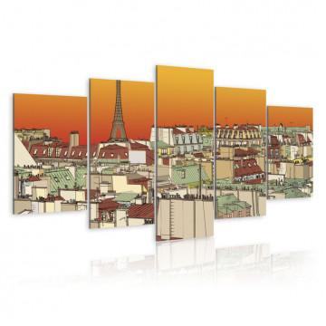 Tablou - Parisian sky in orange colour
