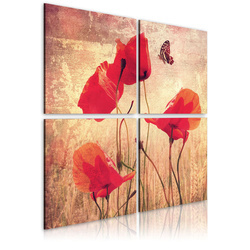 Tablou - Retro style, poppies and butterfly