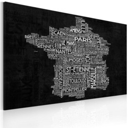 Tablou - Text map of France on the black background