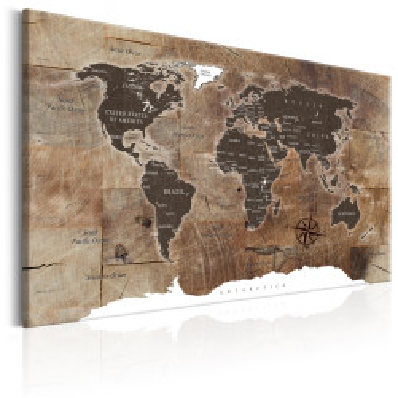Tablou - World Map: Wooden Mosaic